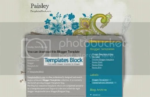 Free Blogger Paisley Floral Gray Template
