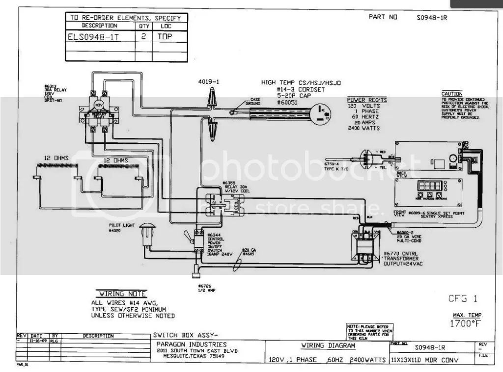 kiln wiring diagram