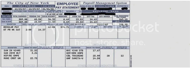 DSNY sanitation test 6063 nyc thread (mechanics, drive, pension - payroll tax calculator nyc
