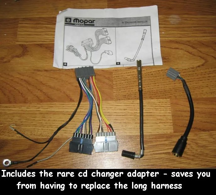 Chrysler Jeep Dodge Radio wiring harness adapter old to new 7-22pin+
