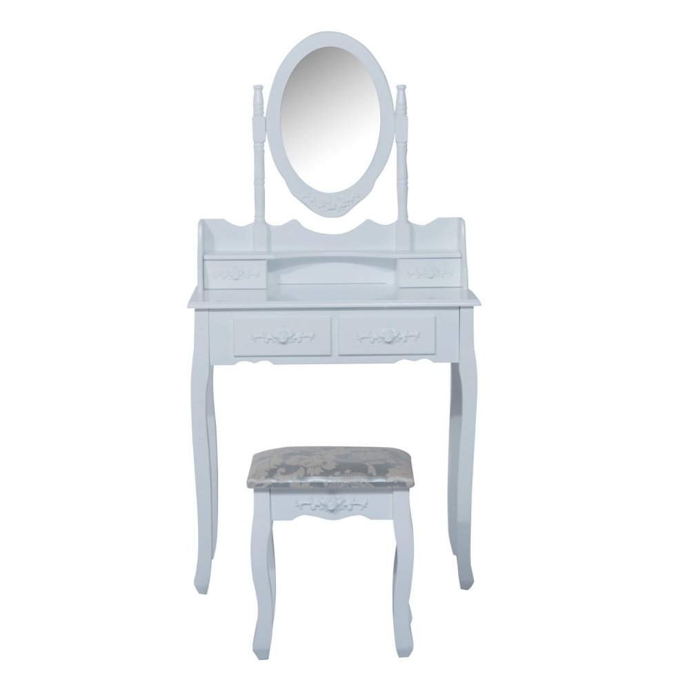 Cosmetic Table Homcom Dressing Table Set Desk Mirror Stool Furniture Cosmetic Storage White