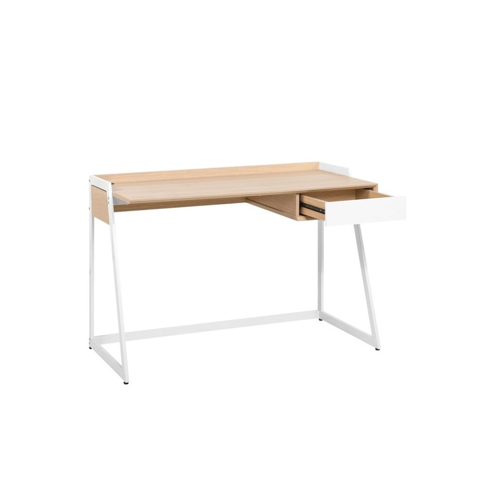 60 Cm Home Desk 120 X 60 Cm Light Wood And White Quito