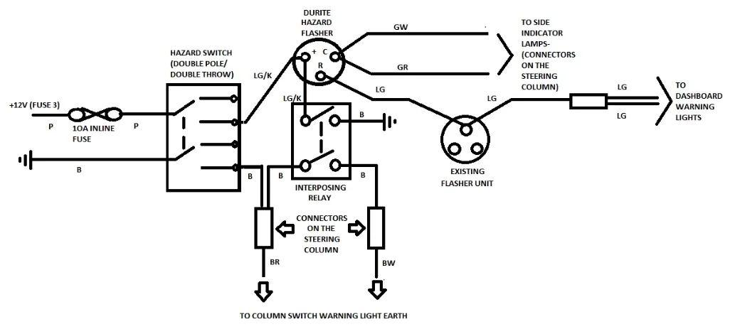 hazard switch brake light turn signal circuit analysis