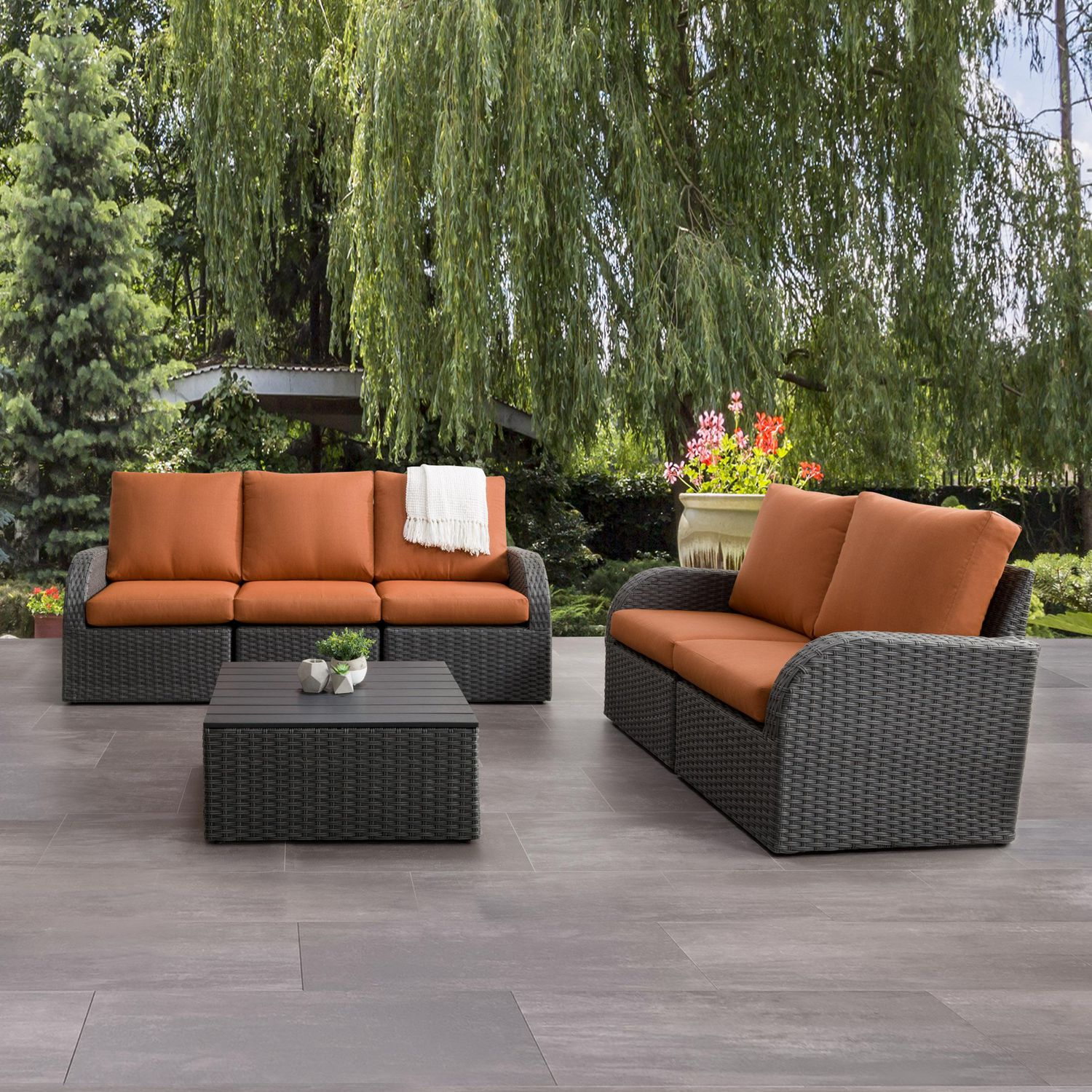Sofa Brisbane Corliving Brisbane 6pc Weather Resistant Sofa And Loveseat With Square Coffee Table Charcoal Grey