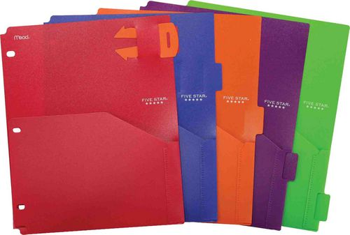 Five Star® Poly Pocket Dividers with Pull-out Reminder Tabs