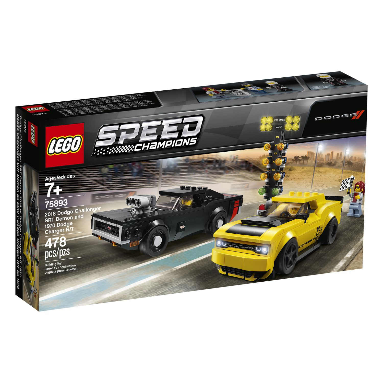 Meubles Challenger Lego Speed Champions 2018 Dodge Challenger Srt Demon And 1970 Dodge Charger R T 75893 Building Kit 478 Piece