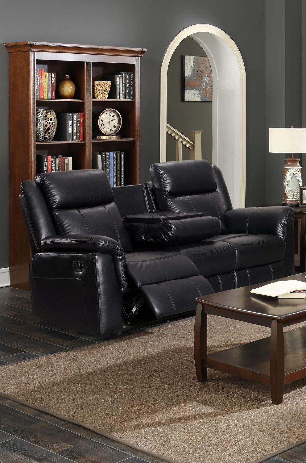 K Living Emma Leathaire Recliner Sofa With Drop Down Tray In Black Walmart Canada