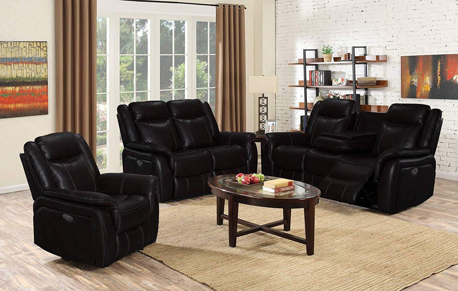 K Living Oscar Leathaire Power Recliner Set In Black Walmart Canada
