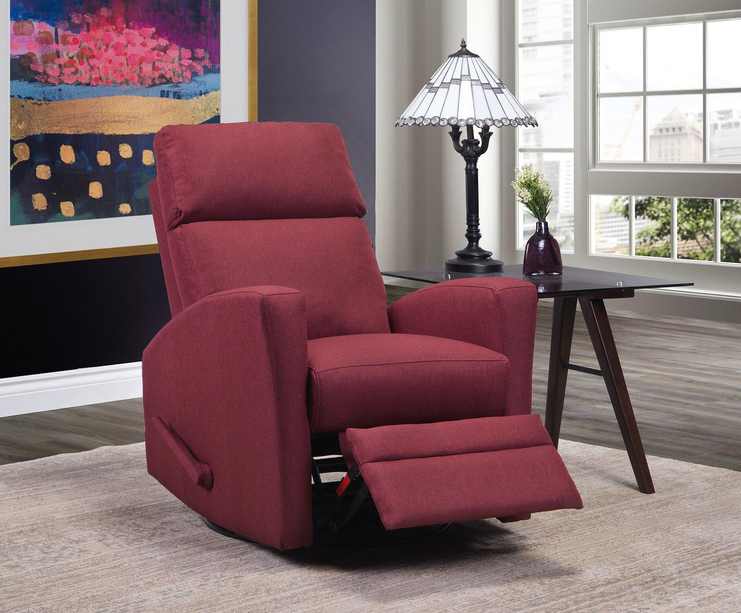 Fauteuil Pivotant Rouge Topline Home Furnishings Fauteuil Inclinable Pivotant Rouge