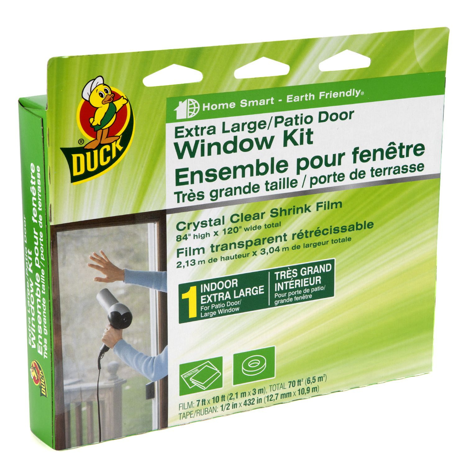 Duck Brand Extra Large Patio Door Crystal Clear Shrink Film Window - Window Plastic Insulation