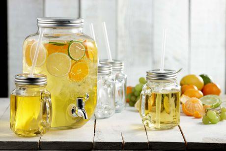 Brilliant Mason Jar Yorkshire Glass Drink Dispenser With Mason Jar Mugs With Lids And Straws