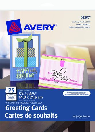Avery® Half-Fold Greeting Cards for Inkjet Printers 03297, 5-1/2\