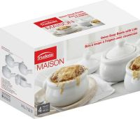 Trudeau Maison 4-Piece Porcelian Onion Soup Bowl Set ...