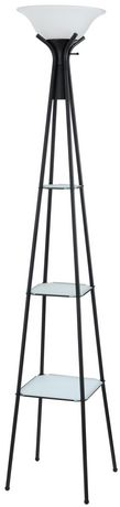 Mainstays Torchiere Floor Lamp with Black Storage Shelves