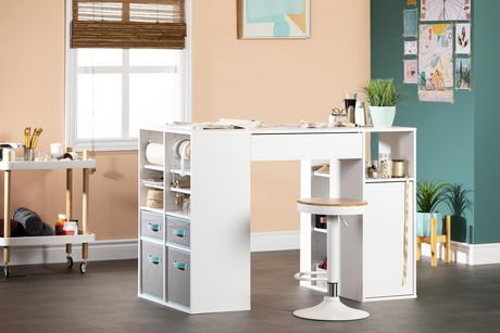 South Shore Crea Counter Height Craft Table With Storage