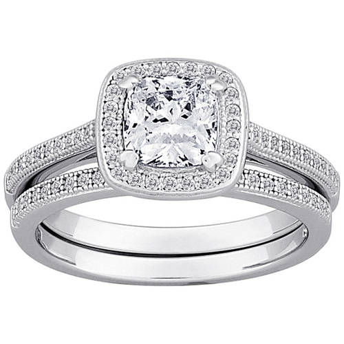 Majestic Micropave Cz Sterling Silver Framed Cushion Cut 2