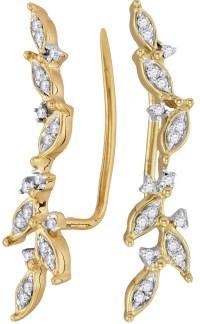 Ear Climber Diamond Earrings 10k Yellow Gold 1/5 CTW 18 ...