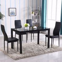 Zimtown Modern Dining Table Set 4 Chair Glass Metal ...