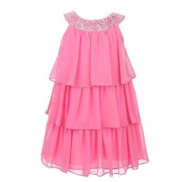 Sweet Kids Girls Pink Sequined Neck Tiered Junior ...