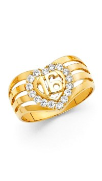 Paradise Jewelers - Sweet 16 14K Solid Yellow Gold Heart ...