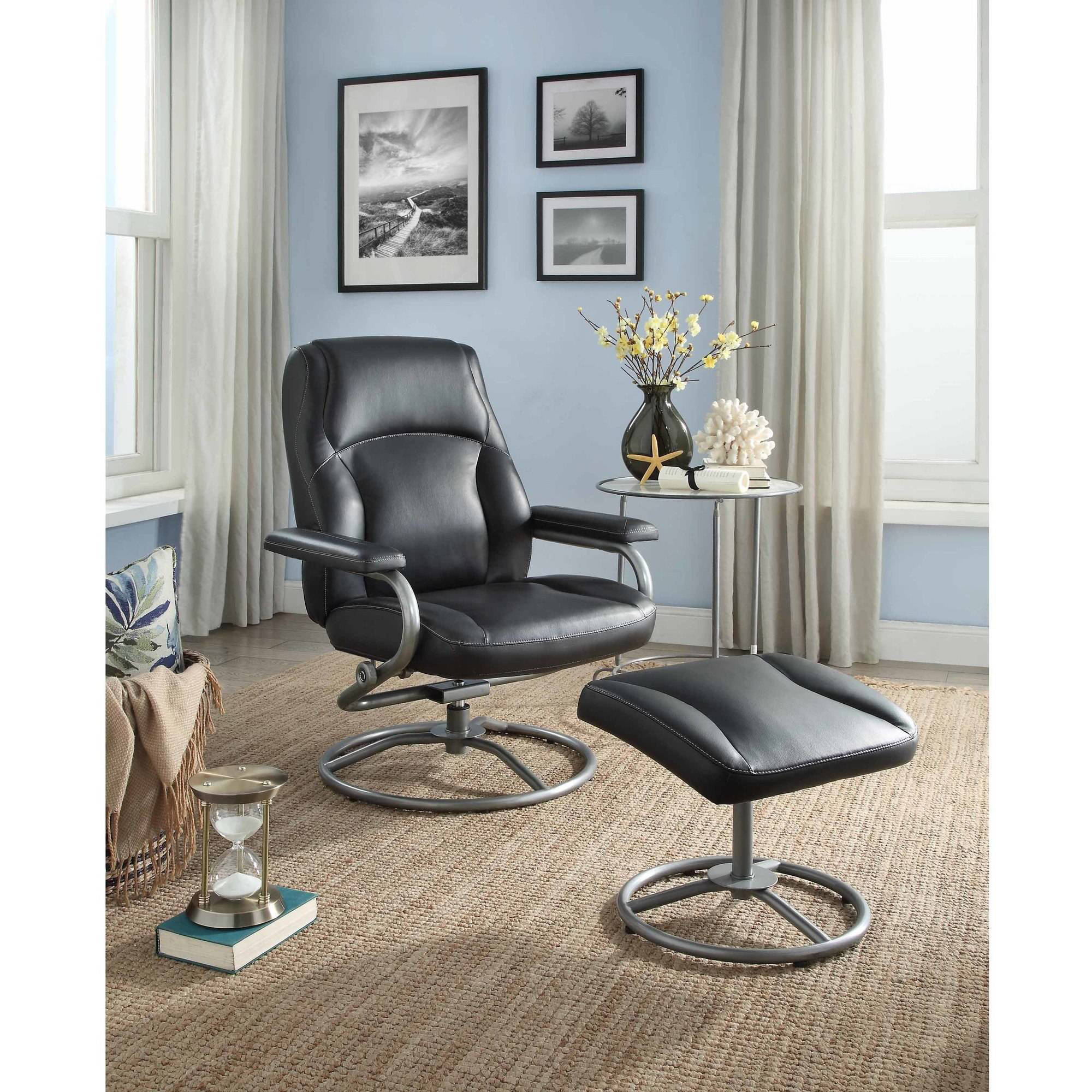 Chair Leather Reclining Swivel Mainstays Plush Pillowed Recliner Swivel Chair And Ottoman Set