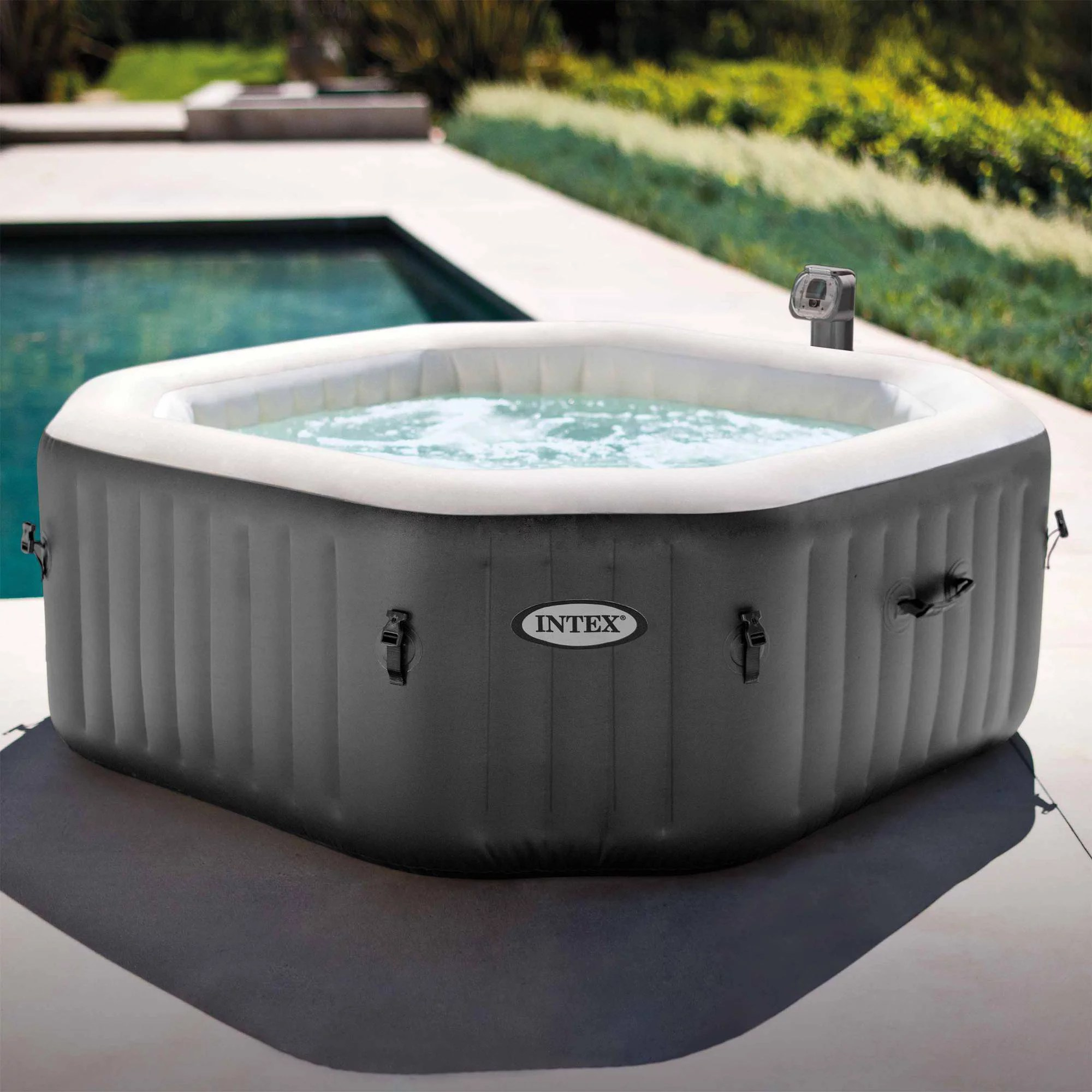 Jacuzzi Pool Manual Intex 120 Bubble Jets 4 Person Octagonal Portable Inflatable Hot Tub Spa