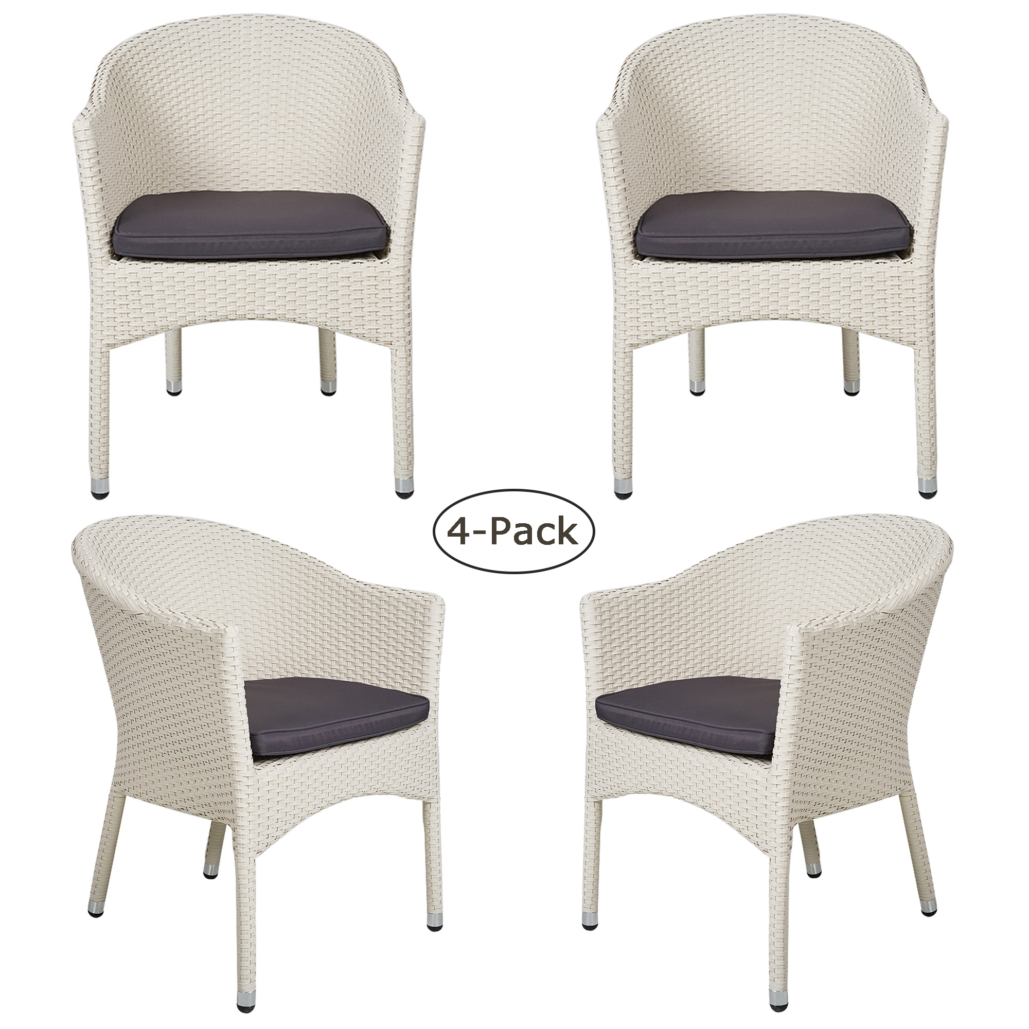 Rattan Chairs Karmas Product 4 Pack Patio Rattan Chairs Home Furniture Wicker Chair With Cushion All Weather Outdoor Indoor Use Garden Balcony Backyard White