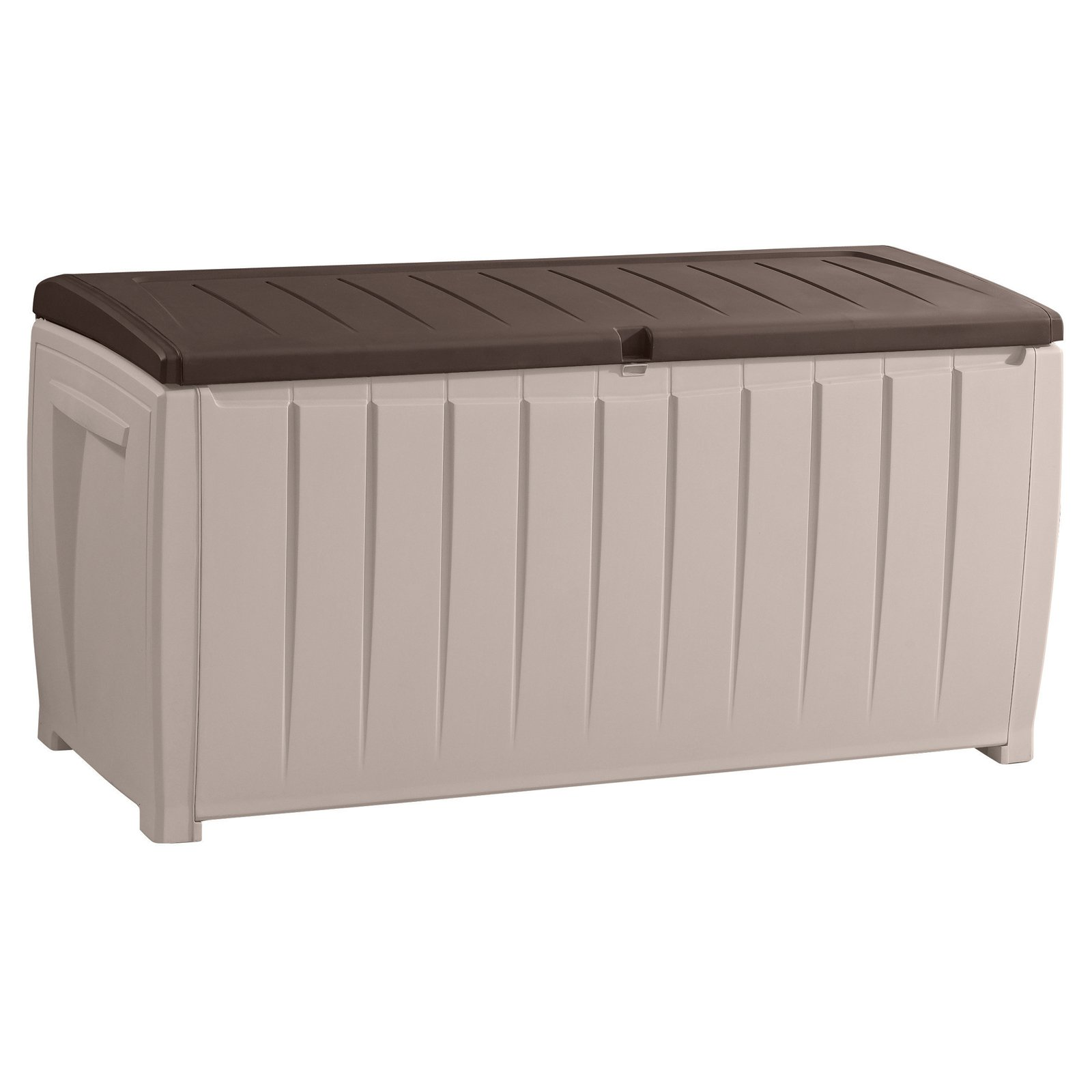 Keter Kissenbox Rockwood Keter Novel Outdoor Plastic Deck Box All Weather Resin Storage 90 Gal Black