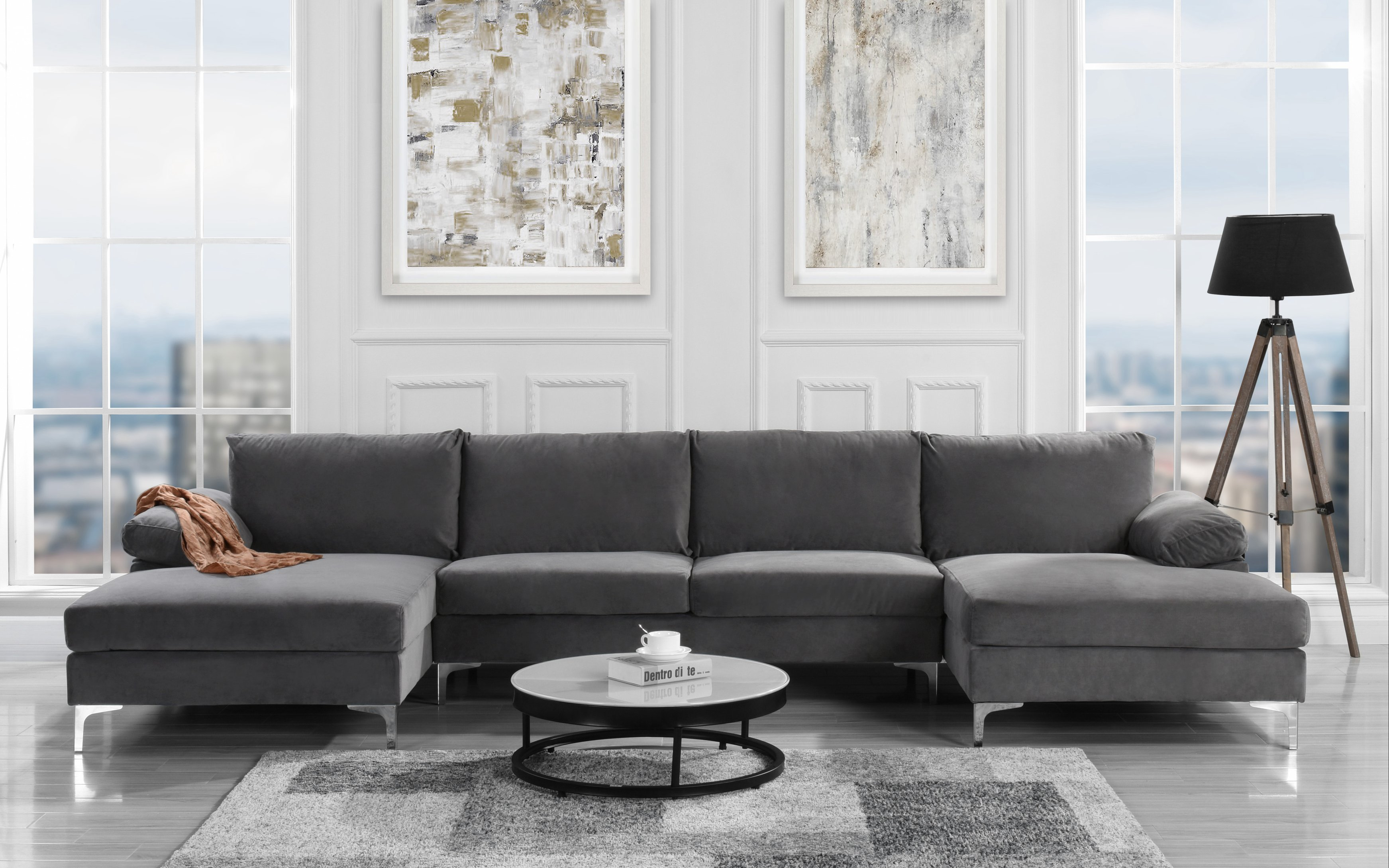 U Couch Modern Large Velvet U Shape Sectional With Double Chaise Lounge Extra Wide Navy