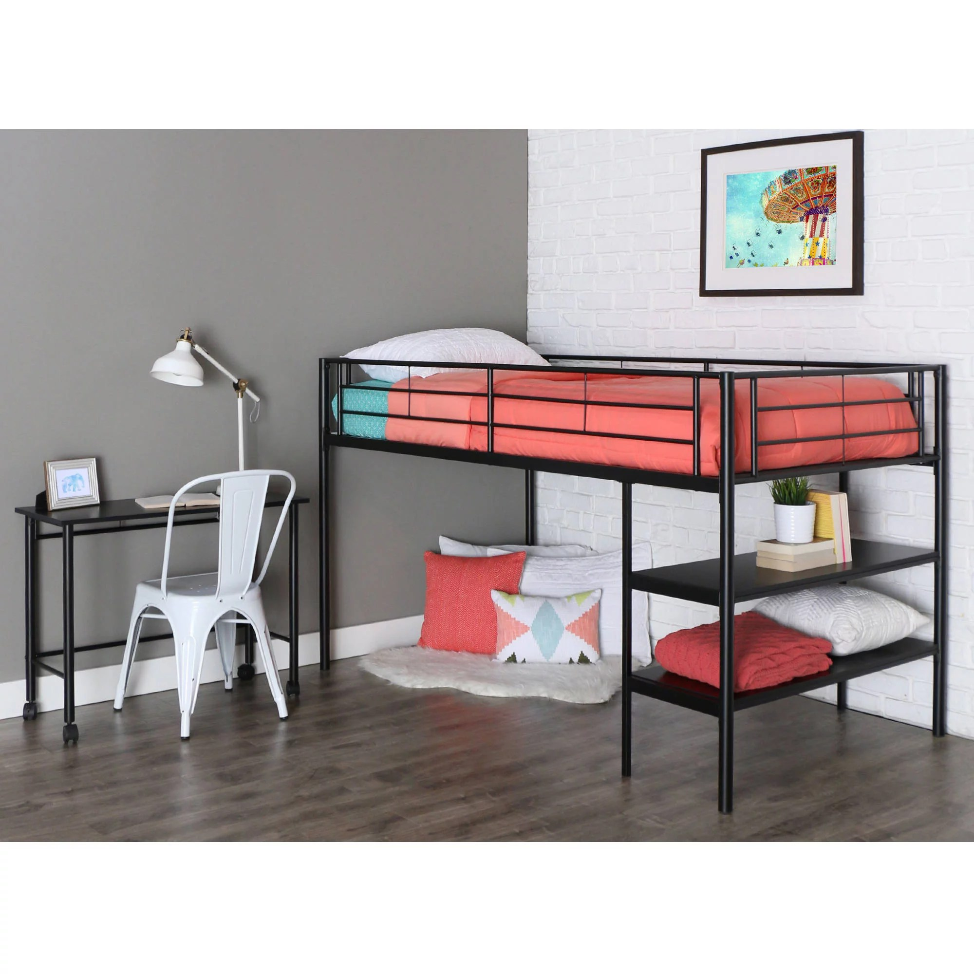 Bed With Desk Walker Edison Twin Metal Loft Bed With Desk And Shelving Black
