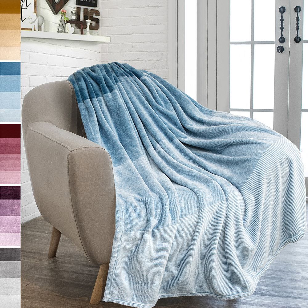 Decorative Sofa Throws Blankets Pavilia Flannel Fleece Luxury Throw Blanket Lightweight Soft Microfiber Gradient Ombre Blanket Decorative Velvet Throw For Couch Sofa Bed All