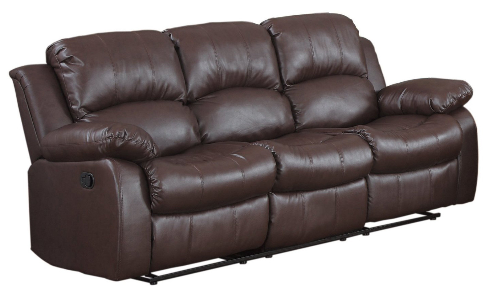 Sofa With Recliner Classic 3 Seat Bonded Leather Double Recliner Sofa
