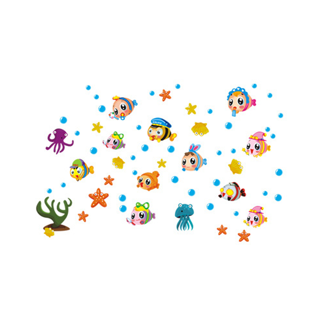 Décoration Murale Adhésive Home Room Decor Cartoon Style Fish Pattern Adhesive Wall Mural Decal Sticker