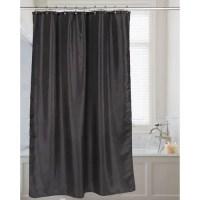 Carnation Shimmer Faux-Silk Shower Curtain - Black ...