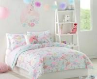 Pastel Unicorns & Flowers Girls Twin Comforter Set (5