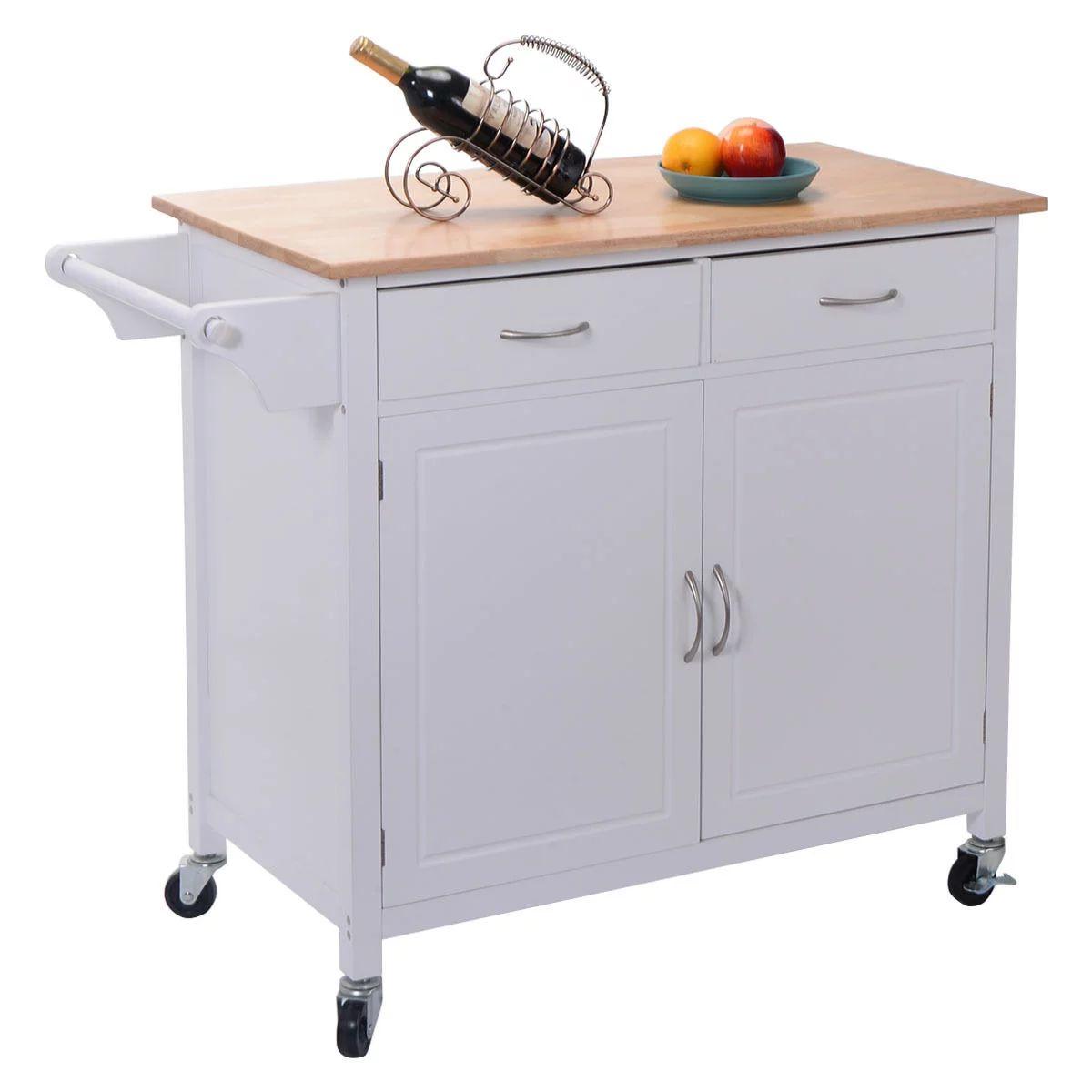 Costway rolling kitchen cart island wood top storage trolley cabinet utility modern walmart com