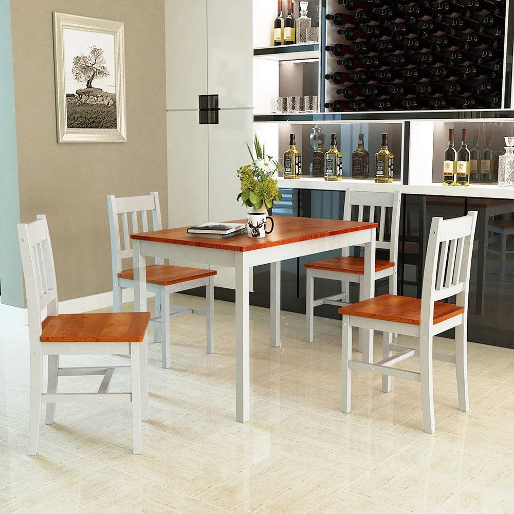 Breakfast Chairs Gymax 5 Piece Dining Table Set 4 Chairs Solid Wood Home Kitchen Breakfast Furniture