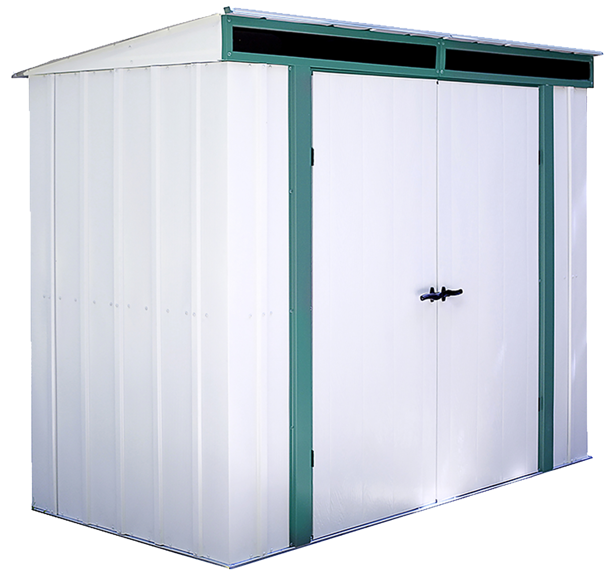 Steel Storage Sheds Euro Lite 8 X 4 Ft Steel Storage Shed Pent Roof Green Eggshell