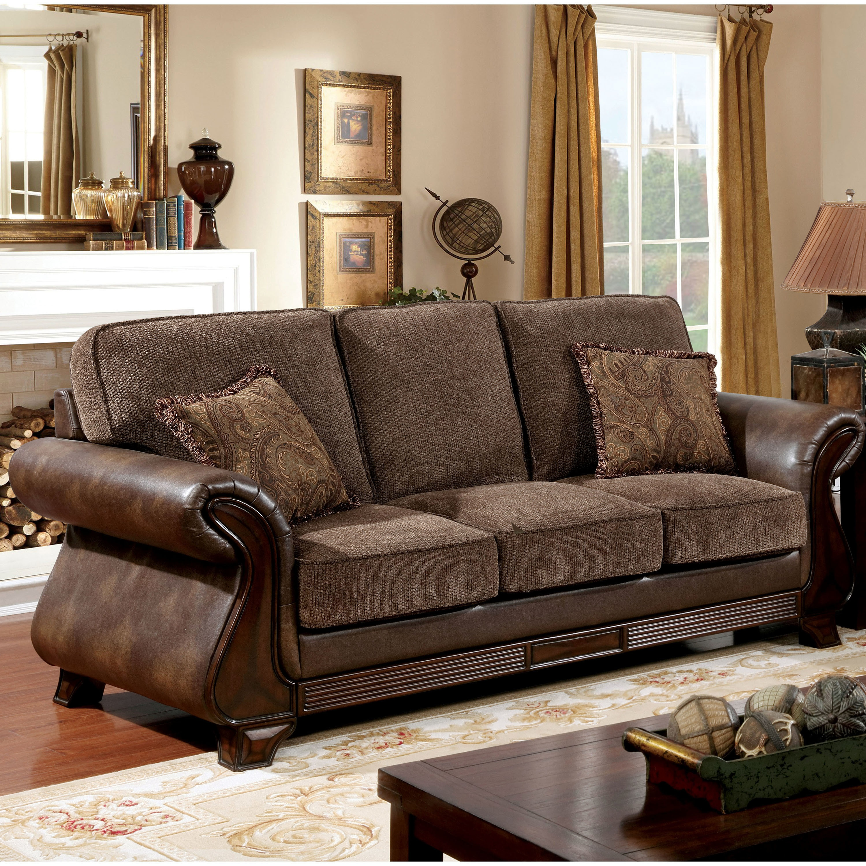 Accent Chairs To Go With Brown Leather Sofa Furniture Of America Elyna Microfiber And Brown Leather Sofa