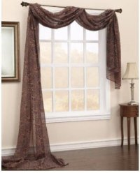 1 PC PRINTED BROWN LEOPARD SCARF VALANCE SOFT SHEER VOILE ...