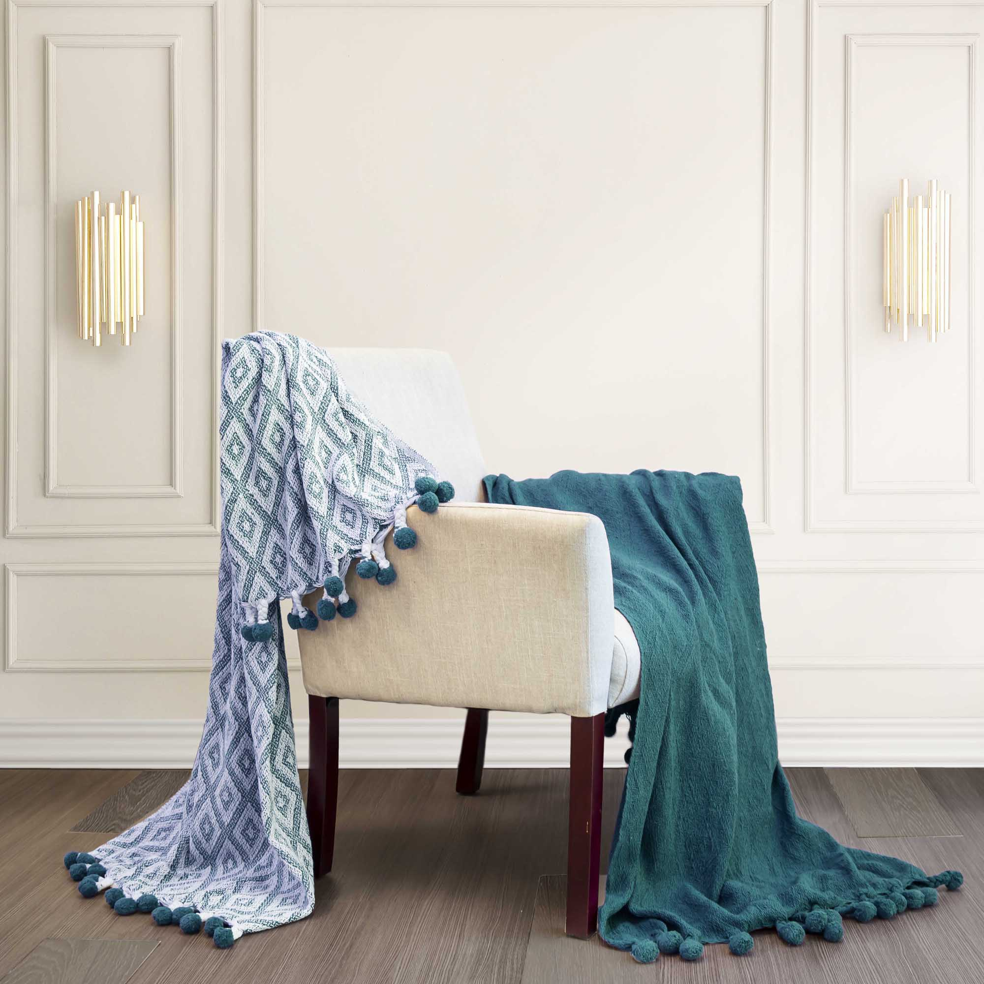 Throw Blankets Amrapur Diamond Maze And Solid 2 Pack Cotton Throw Blankets