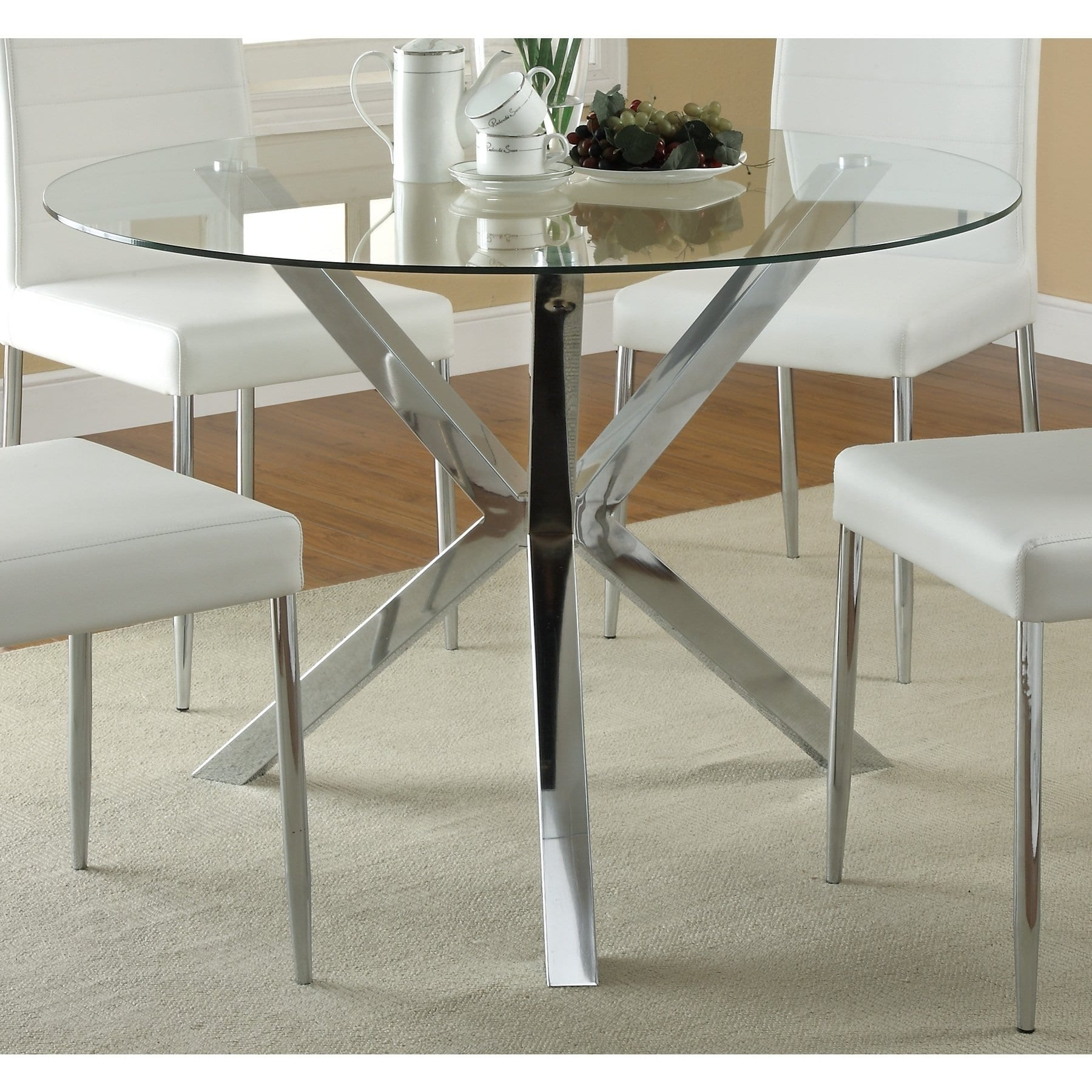 Round Glass Top Dining Table Coaster Vance Contemporary Glass Top Round Dining Table In Chrome
