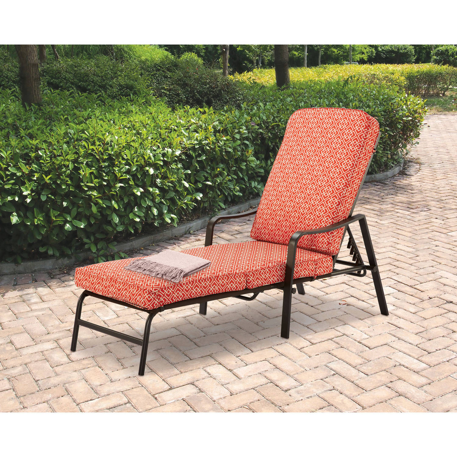 Patio Outdoor Mainstays Outdoor Chaise Lounge Orange Geo Pattern