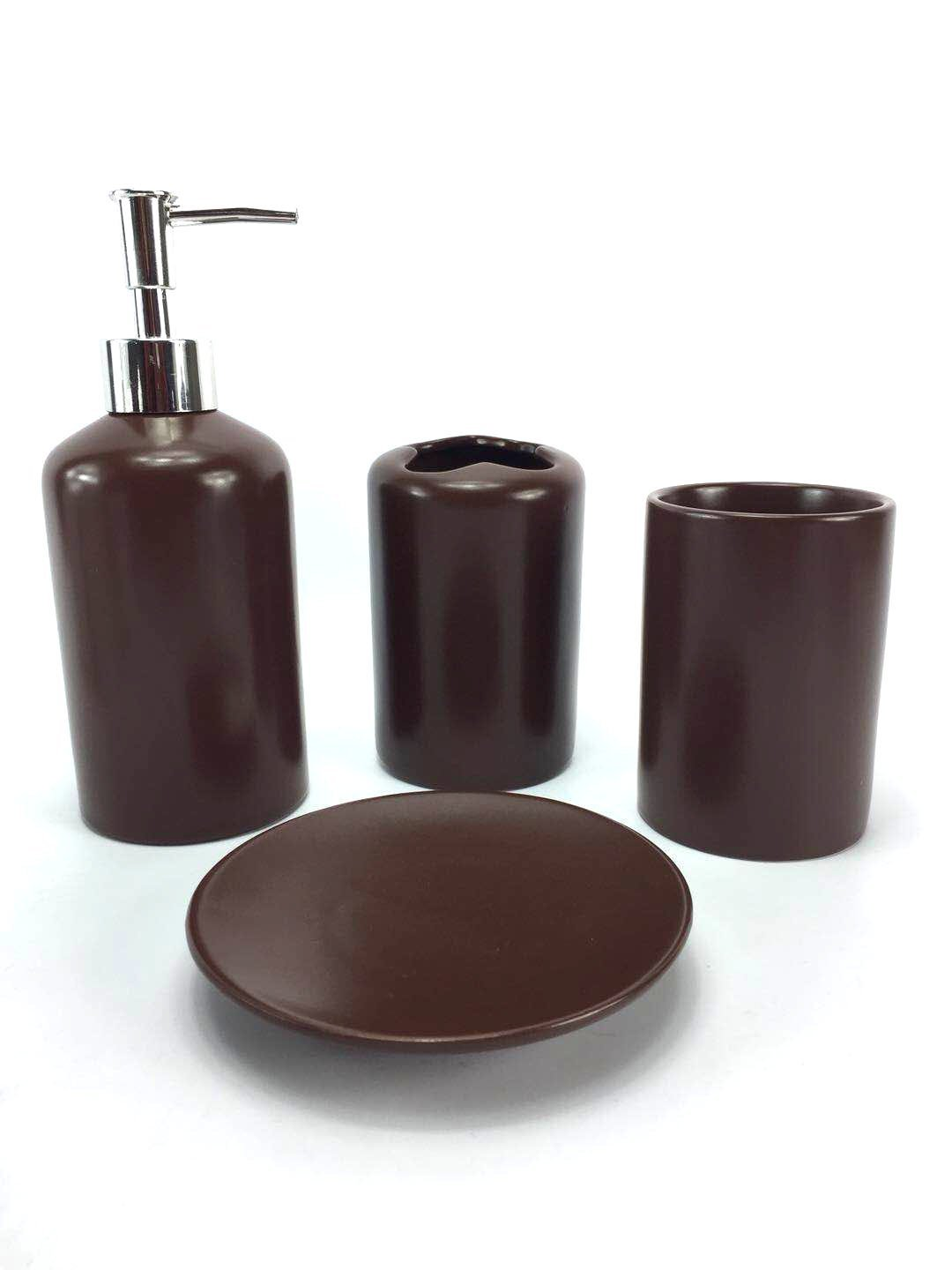 Bath Accessories Wpm 4 Piece Ceramic Bath Accessory Set Includes Bathroom Designer Soap Or Lotion Dispenser W Toothbrush Holder Tumbler Soap Dish Choose From