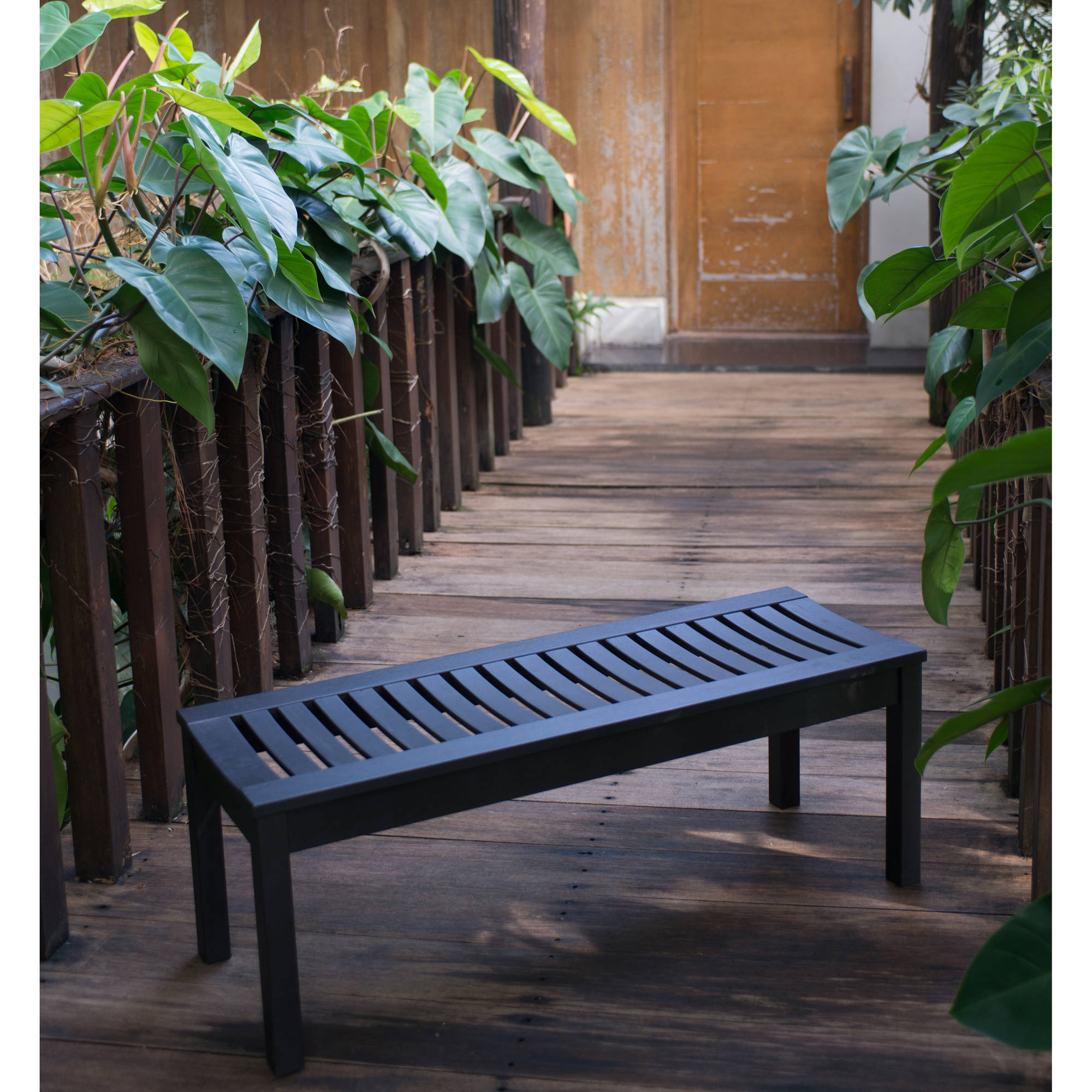 Garden Seats Benches Better Homes And Gardens Delahey Backless Outdoor Bench Dark Brown