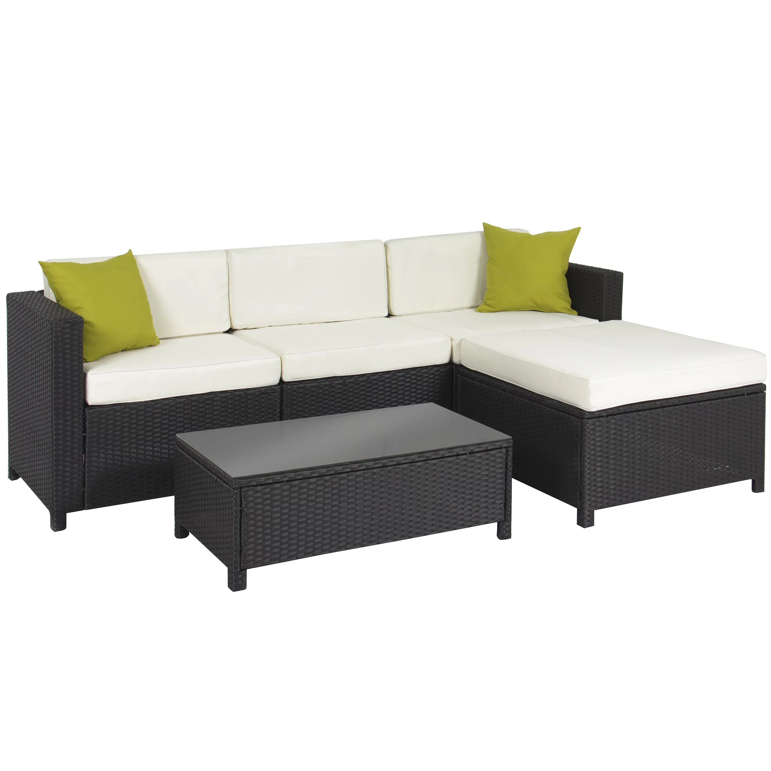 Rattan Sofa Near Me Best Choice Products 5 Piece Modular Wicker Patio Sectional Set W Glass Tabletop Removable Cushion Covers Black