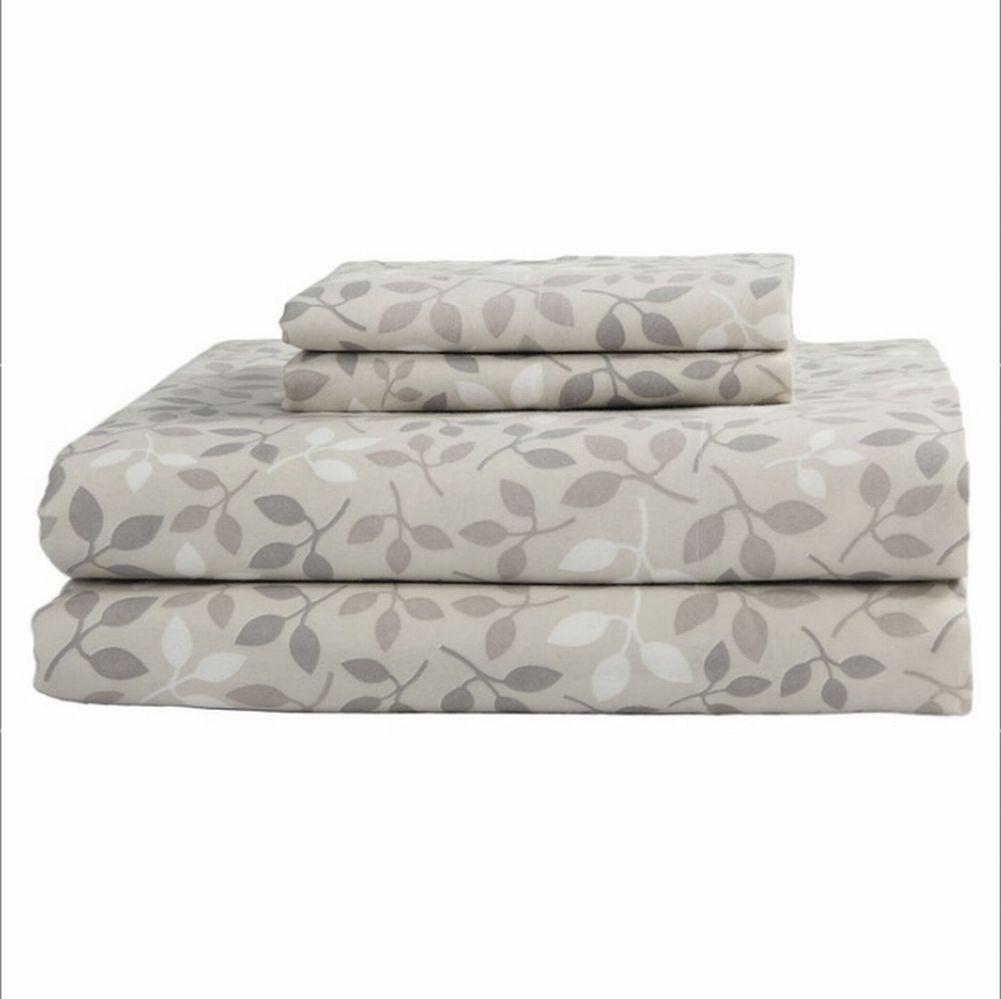 NorthCrest Flannel Sheet Set Beige Leaf Full Bed Size