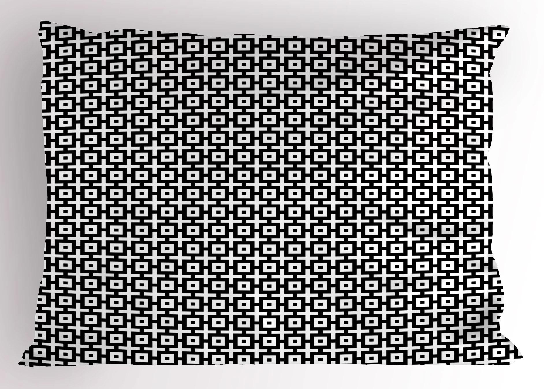 Geometric Pillow Sham Graphic Squares Plus Signs Modern