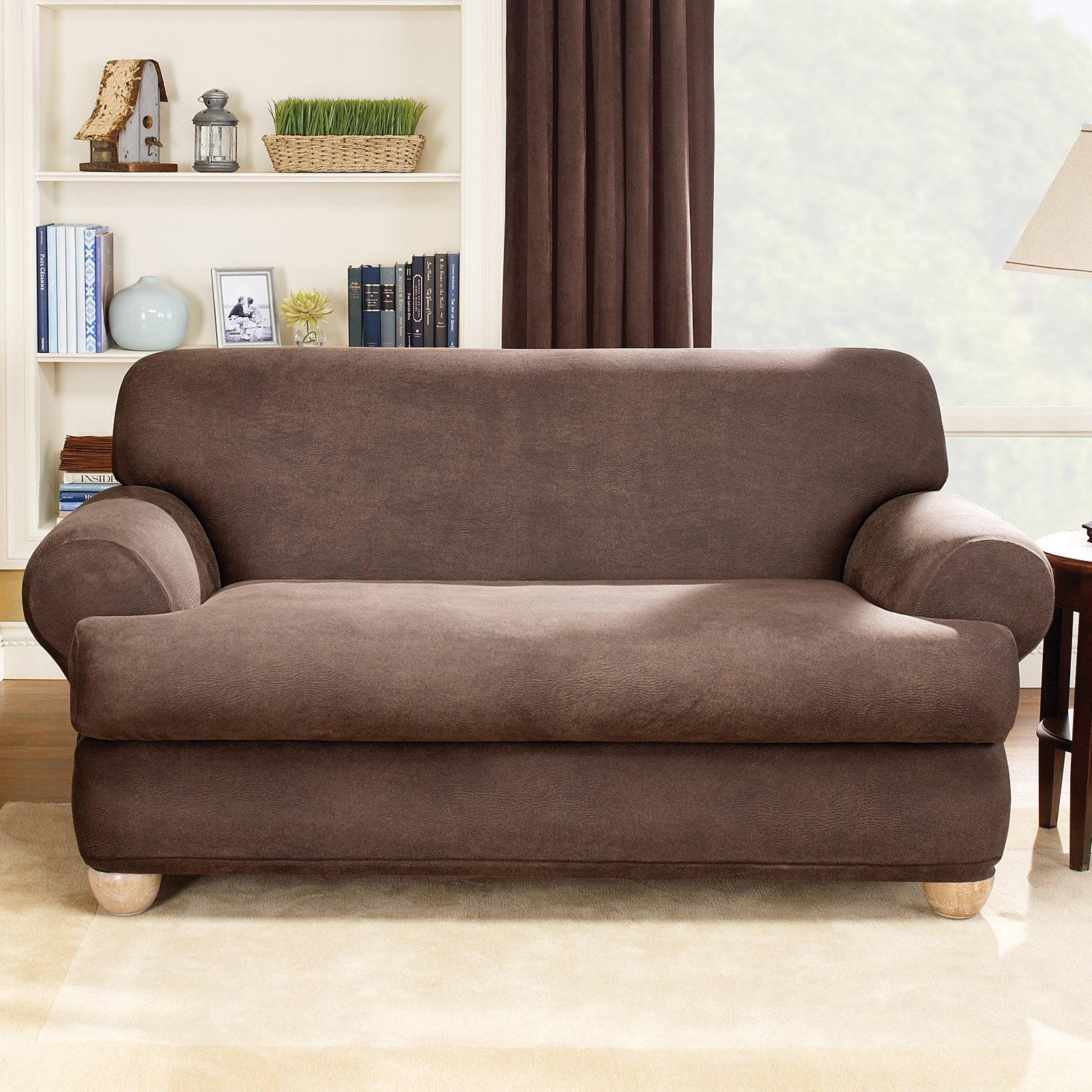 Fitted Slipcovers Couches Sure Fit Stretch Leather 2 Piece T Cushion Sofa Slipcover Brown