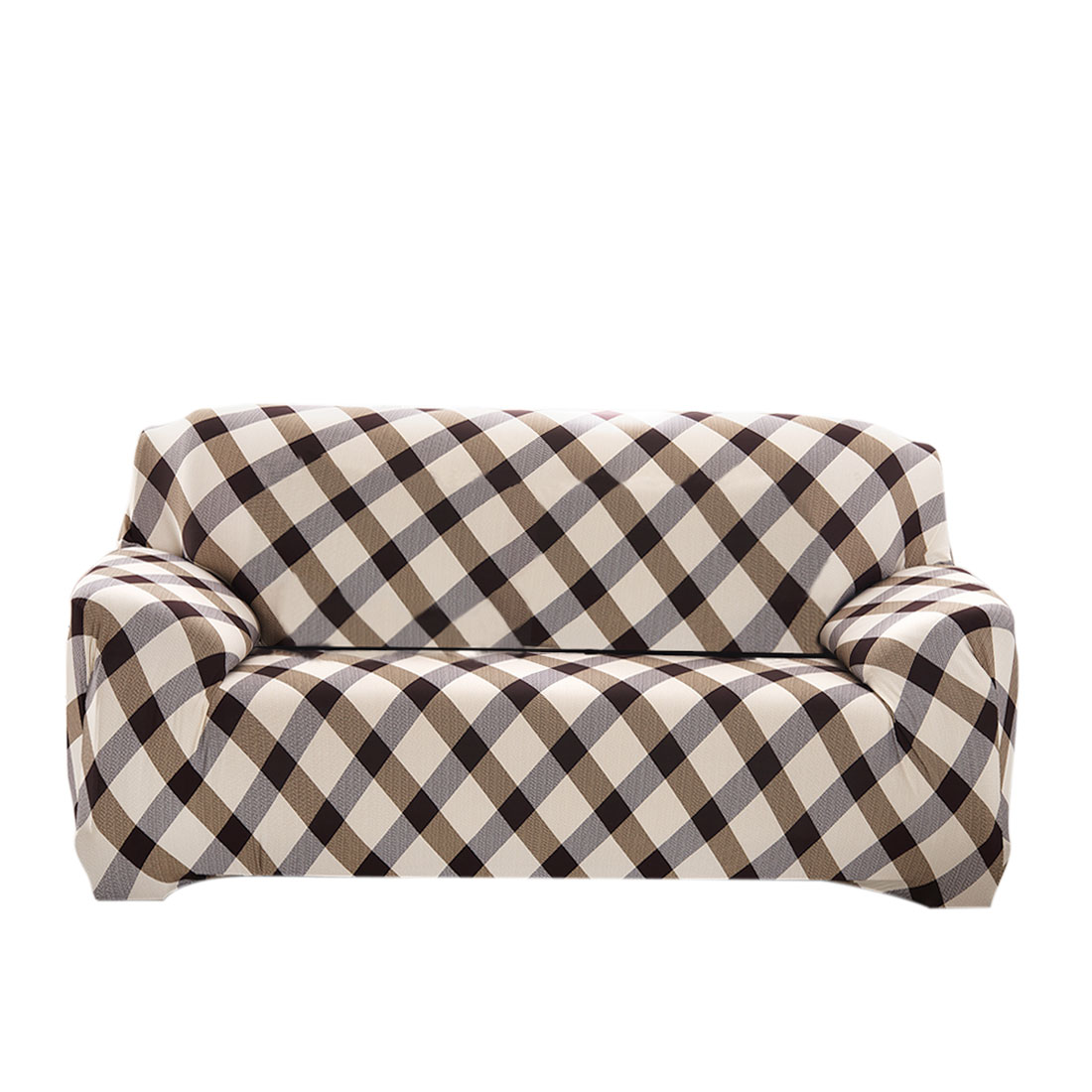 Home Polyester Grid Pattern Sofa Loveseat Cover Slipcover